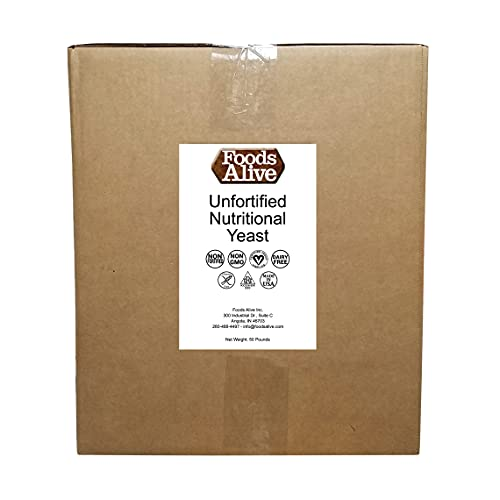 Foods Alive Bulk Nutritional Yeast Flakes, Bulk 50-lbs | Non-Fortified, Plant Based Protein, Vegan Cheese Powder Substitute, Versatile Seasoning for a Wide Range of Dishes