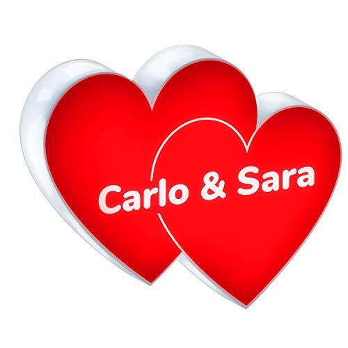Dos corazones luminosos color rojo LED de plexiglás 50 x 40 cm lámpara decoración casa cartel idea regalo enamorados novios San Valentín