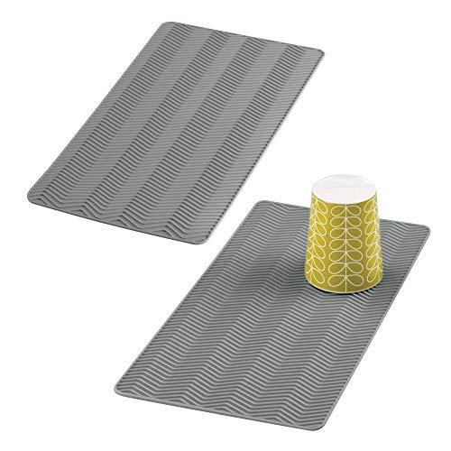 mDesign Juego de 2 alfombrillas escurreplatos para cocina – Tapete de silicona pequeño para fregadero – Escurridor de...