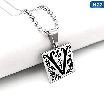 Herren Halskette Trendy 26 Englisch Alphabet Buchstaben Halsketten Punk Square Anhänger Edelstahl Halskette Männer Schmuck Zubehör H22