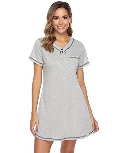 iClosam Camisón Mujer Verano Manga Corta,Pijama Algodon Ves