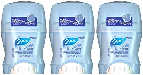 Secret Invisible Solid Outlast Antiperspirant Deodorant Completely Clean 0.5 Oz Travel Size (Pack of 3)