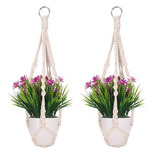 2 Pack Macrame Plant Hangers, Cotton Rope Woven Indoor Outdoor Hanging Plant Holder Wall Hanging Planter Ceiling Plants for Flower Pot, Hanging Plants Holder for Yard Garden Home Decoration, 50 cm
