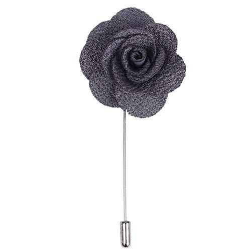 Fouriding 4 Pieces Boutonniere Rever Broche a Fleur Rose avec Bâton Costume pour Marié de Mariage (Gris Fonce, 4 pièces)