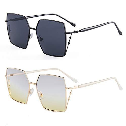 HFSKJ Pack de 2 Gafas de Sol, Gafas de Sol poligonales Irregulares Gafas Retro cuadradas de Metal Las Gafas Populares Son adecuadas para Hombres y Mujeres,C