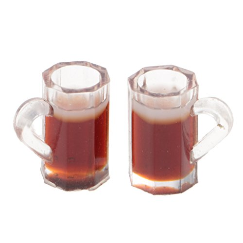 2 Pcs Miniatur Bierkrug Bierglas mit Bier für Puppenstube Maßstab 1:12