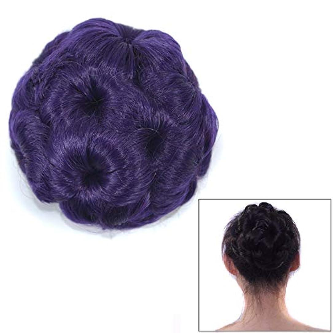 リスナートリプル一時停止美しさ 花嫁のためのかつらボールヘッド花のヘアピンのヘアバッグかつらヘッドバンド ヘア&シェービング (色 : 紫の)