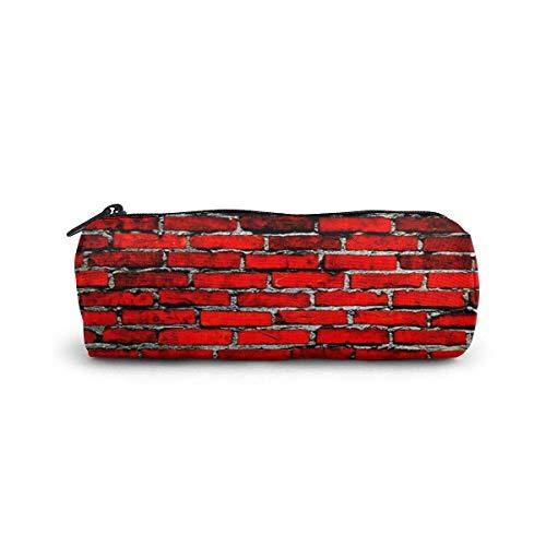 Der alte rote Backstein-Federmäppchen Zylinderform Stift Briefpapier Beutel Tasche Reißverschlüsse Stift Tasche Büro Briefpapier Tasche Kosmetische Kulturbeutel