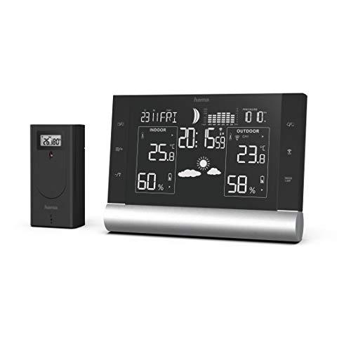 """Hama Wetterstation Funk mit Außensensor """"Black Line Plus"""" (mit Wettervorhersage, Innen- und Außentemperatur, Thermometer, Hygrometer, Barometer, Frostalarm, Hitzeindex, Taupunkt, DCF Funkuhr) schwarz"""
