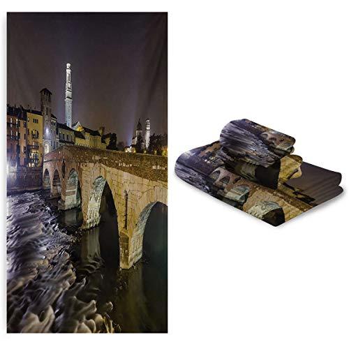 Zara Henry - Toalla de baño para niños, diseño de ponte pietra en el río Adige antiguo puente romano en el casco antiguo de Verona Italia, no se encoge ni se decolora, color...