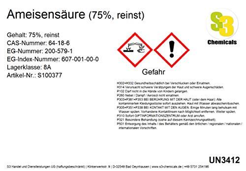 S3 Chemicals Ameisensäure (75%, reinst) Größe 1 Liter
