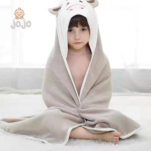 JoJo - Toalla de baño 100% de algodón natural, ideal para la ducha y el baño de los niños, para bebés o niños pequeños de 3 meses a 2 años