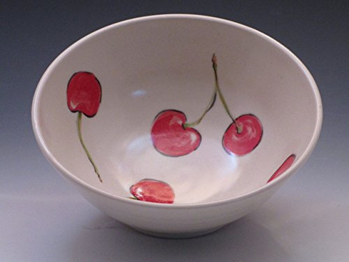 Porcelain Cereal or Soup Bowl, Hand Painted in Cherry Pattern