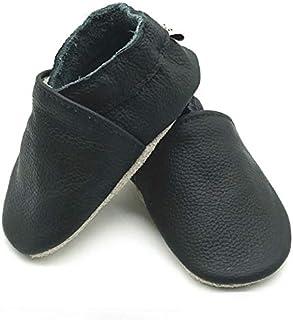 Leather slip ons shoes for prewalker babies infants toddlers boys and girls first walker soft sole light anti slip slipper...
