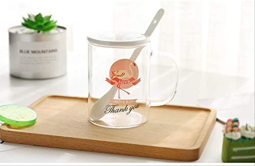 Flamingo High Boro Glass Creative Mug Vaso de Leche 450ML Un pie a la Derecha