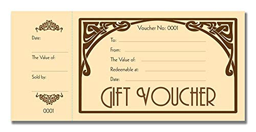 Cherry Art Deco Gift Certificate Cards/Voucher/Gift Coupon Book with Stub, 50pages, Cardstock, 3.9 x 8.3 Inches