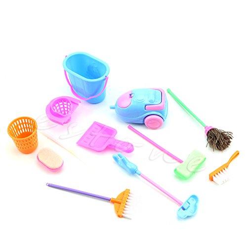 Juego de 9 piezas de accesorios para casa de muñecas Barbie Doll House para limpieza de muebles de casa de muñecas Barbie