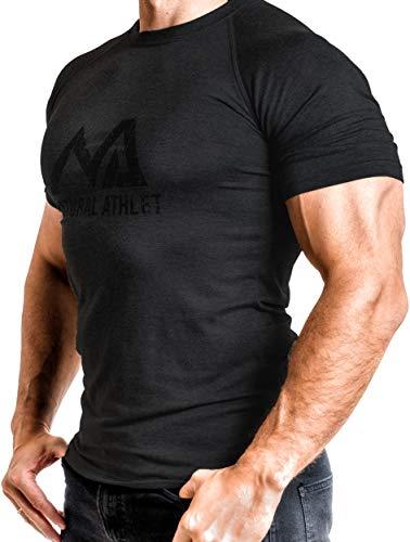 Herren Fitness T-Shirt meliert - Männer Kurzarm Shirt für Gym & Training - Passform Slim-Fit, lang mit Rundhals, Schwarz, S