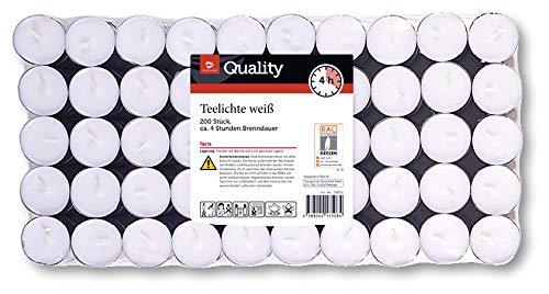 TGQ Teelichter 200er Pack Gastronomie Kerzen Teelicht 4 Stunden Brenndauer