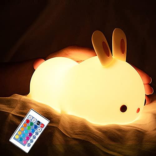 Lámpara De Noche Táctil Regulable Luz De Noche Para Bebé USB Recargable, Luz Nocturna De Conejo Para Niños Es Una Buena Opción Para Cumpleaños Y Regalos Batería Más Grande 1800Mah, Con Control Remoto