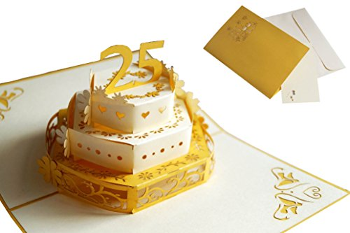 LIN 17562, Pop Up Karte Hochzeit 25, Pop Up Karte Silberhochzeit, Grußkarten 25 Jahre Jubiläum, 25 Hochzeitstag, 25. Party Einladungen, Grußkarten 25 Geburtstag, Gold, N314
