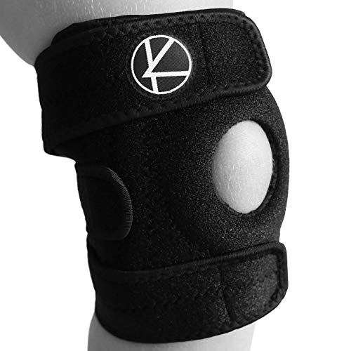 Adjustable Kids Knee Brace Support - Best Knee Support for Youth, Arthritis, ACL, MCL, LCL, Sports Exercise, Meniscus Tear. Open Patella Neoprene Stabilizer Wrap for Children, Boys, Girls (Black)