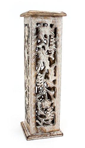 Räuchersäule Räucherturm Shrinagar aus Holz weiß gewachst, 31cm, Räucherstäbchenhalter Halter Räuchern Räucherstäbchen Kegel