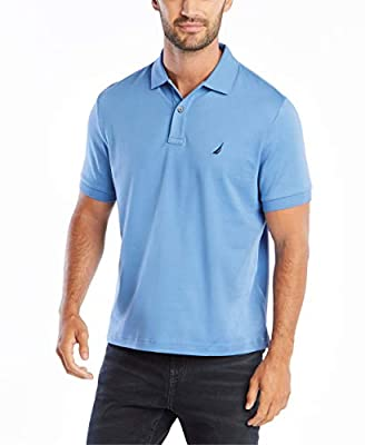 Nautica Men's Classic Fit Short Sleeve Solid Soft Polo Shirt, Rivieria Blue Solid, X-Large