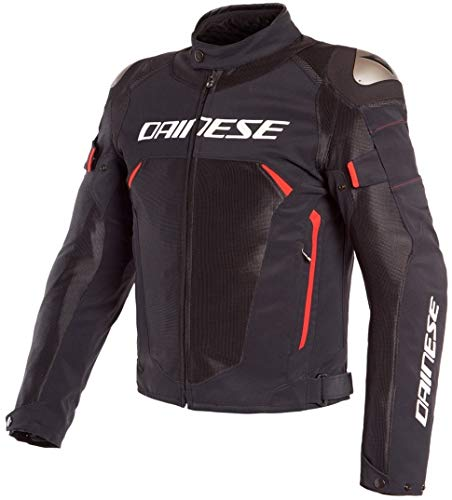 Dainese Motorradjacke mit Protektoren Motorrad Jacke Dinamica Air D-Dry Textiljacke schwarz/rot 50 (M), Herren, Sportler, Ganzjährig