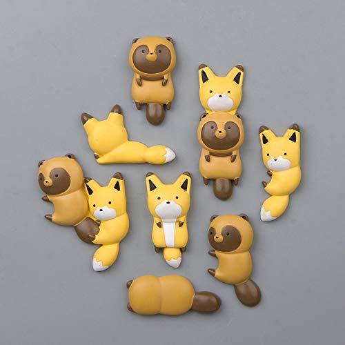 PMSMT 1PC Kawaii Cute Fox Waschbär Flache Rückseite Harz Cabochon Scrapbooking für Telefon Kühlschrank Aufkleber DIY Crafts Verschönerung Zubehör