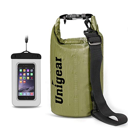 Unigear Dry Bag Waterproof, Floating and Lightweight Bags for Kayaking, Boating, Fishing, Swimming and Camping with Waterproof Phone Case (Army Green, 5L)