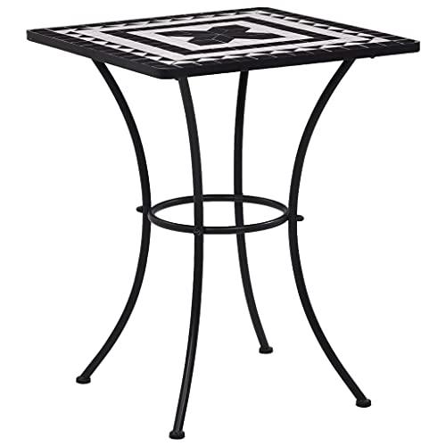 vidaXL Mosaik Bistrotisch Gartentisch Balkontisch Mosaiktisch Terrassentisch Tisch Beistelltisch Gartenmöbel Schwarz Weiß 60cm Keramik