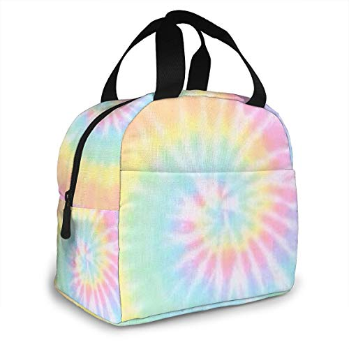 Pastel Tie Dye Portable Insulated Lunch Tote Bag Reusable Lunch Box For Men, Women And Kids