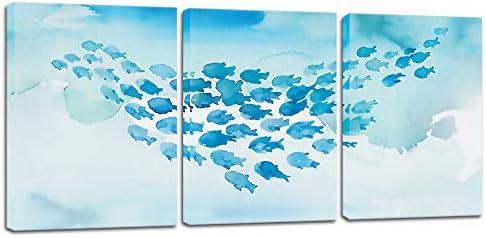Biuteawal 3 Piece Fish Canvas Wall Art Whale Gam Painting Blue Sea Art Wall Decor Modern Sea product image
