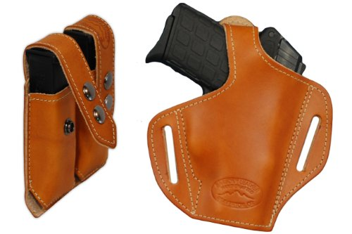 Barsony New Saddle Tan Leather Pancake Holster + Double Mag Pouch Colt New Agent Right