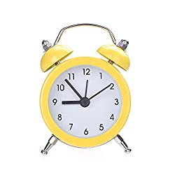 ekqw015l Fashion Clock for Home Living Room Bedroom Decor & Mini Round Metal Alarm Clock Desk Stand Clock for Home Room Kitchen Office