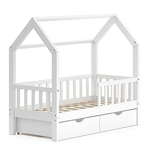 VitaliSpa Kinderbett Hausbett Spielbett Wiki 70x140 inkl Lattenrost (Weiß, mit Schubladen)