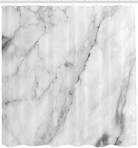 Marmor DuschvorhangGranit Oberflächenmotiv mit Sketch Nature Effekt & Risse Antiker Stil BildStoff Badezimmer Dekor Set Mit Haken 72 X 72 Zoll Grau Staub Weiß