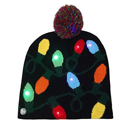 FJROnline Weihnachtsmütze mit LED-Licht, Strickmütze, 3 Bunte LEDs, Weihnachtsmütze, Unisex, Männer, Frauen, Kinder, drinnen und draußen, Lamp