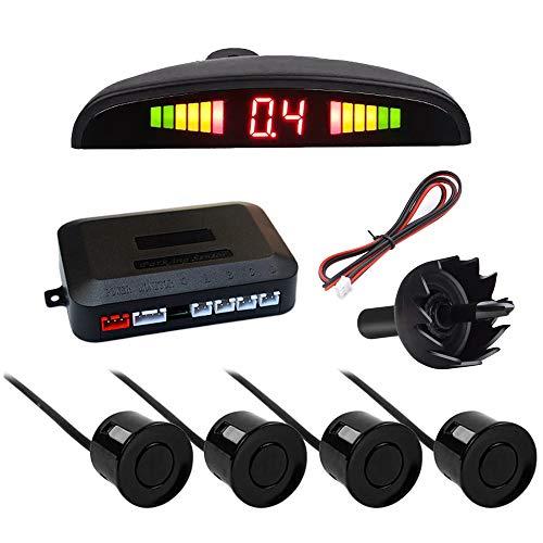 IWILCS sistema de sensor de estacionamiento, sistema de asistencia de estacionamiento con advertencia de marcha atrás, sistema de sensor de estacionamiento con 4 sensores, para de vehículos SUV, negro