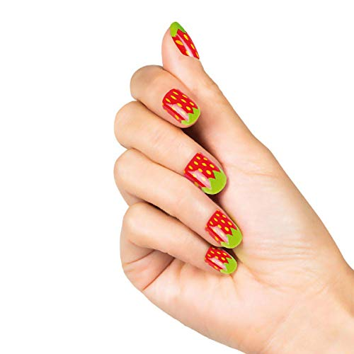 Boland 01504 - 24 Nägel Erdbeere, Set aus selbstklebenden, künstlichen Fingernägeln, Nageldesign, Kunstnägel, Beauty, Mottoparty, Karneval