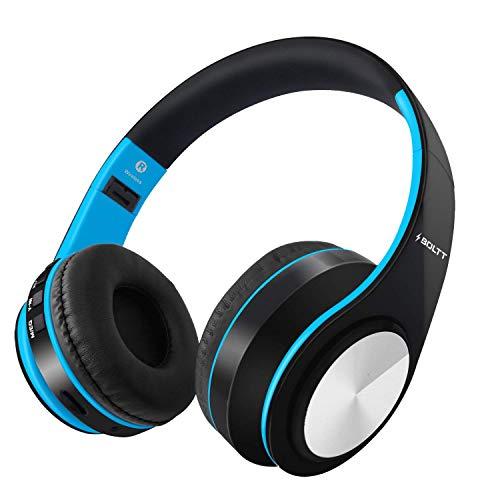 Fire-Boltt Blast 1000 Hi-Fi Stereo Over-Ear Wireless Bluetooth Headphones with Foldable Earmuffs, On Ear with 20-Hours Playtime, Built-in Mic, Deep Bass & Soft Ear Cushions (Blue)