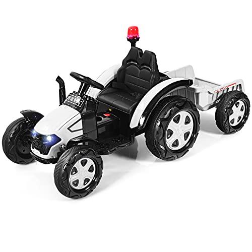 COSTWAY Tractor Eléctrico 12 V 7 AH para Niños con Remolque, Tractor...