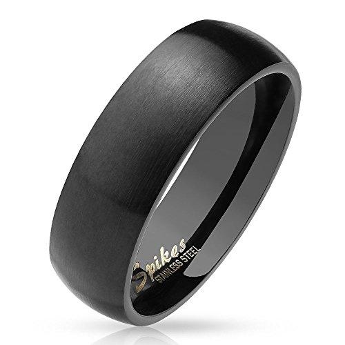 Bungsa 64 (20.4) schwarzer Ring für Damen & Herren - Schwarz - Damenring aus Edelstahl matt - edler Edelstahlring geeignet als Verlobungsringe, Freundschaftsringe & Partnerringe