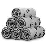 Comsmart Warm Paw Print Blanket/Bed Cover for Dogs and Cats Grey, 6 Pack of 24 x 28 Inches