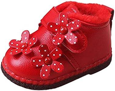 Botas Unisex de Nieve de Niñas Niños de PU Flor y Terciopelo Zapatos de Bebé Invierno Botines Niña Acogedor Botines Infantiles Suela de Goma Primeros Pasos Zapatos (20, Rojo)