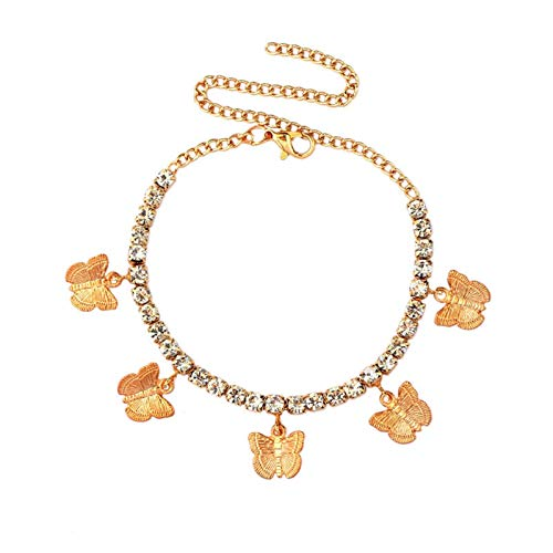 YUNGYE Necklaces Pendant Chain, Adjustable Metal Butterfly Pendant Anklet Female Fashion 4mm Tennis Chain Anklets Jewelry For Girls (Metal Color : 001501GD)