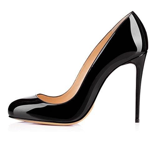 Soireelady Scarpe con Tacco Donna,Round Toe High Heels,Tacco a Spillo 10cm Nero EU35