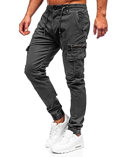 BOLF Homme Pantalon Cargo de Randonnee Fonctionnel D'exterieur de Sport Loisir Joggeur Jogging avec Cordon de Serrage Confort Street Style 8993 Graphite M [6F6]