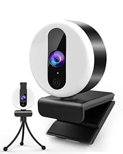 2K Webcam mit Mikrofon für PC, Ringlicht Web Cam USB mit Abdeckung und Stativ für PC/MAC/Laptop/Desktop, HD Web Kamera Streaming für YouTube,Skype,Zoom,Xbox,Lernen, Videokonferenz und Videoanrufe